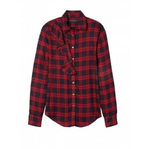 BR Dillon Plaid Blouse with Ruffle